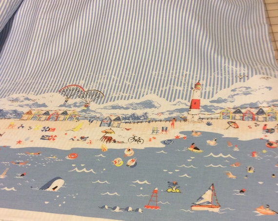 "Beach Themed Fabric / Smocking Fabric / Beach Dress / Striped Fabric / Border Print / Nautical Print / by Fabric Finders 60"" wide"