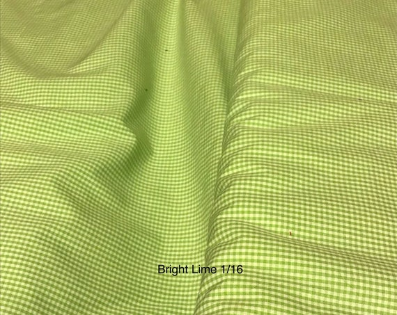 "Gingham/ Lime Green Gingham / Small Gingham / 1/16 Gingham  / by Fabric Finders 60"" wide"
