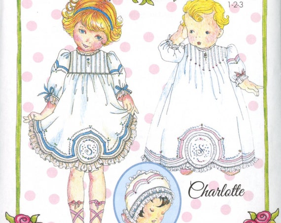 Day Gown and Baby Dress Pattern / Tucks / Embroidered Front Panel / Scalloped Hem / / by Wendy Schoen