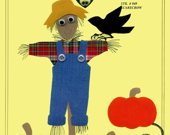 Iron on Appliqué / Press & Sew Appliqué / Scarecrow Appliqué  / Boys / Easy Fall Outfit /  Scarecrow by Ellen McCarn