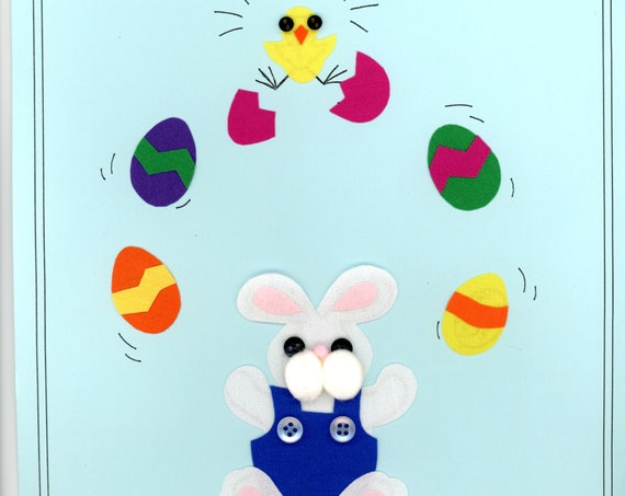 Iron on Appliqué / Press & Sew Appliqué / Juggling Bunny Applique / Easy Easter Outfit /  Embroidery machine not required / Ellen McCarn
