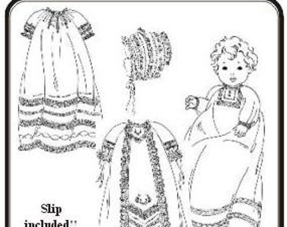 Christening Gowns Pattern  / Raglan Sleeves / Slip & Bonnet Included /  Boys or girls / 3 Styles / The Old Fashioned Baby / 23
