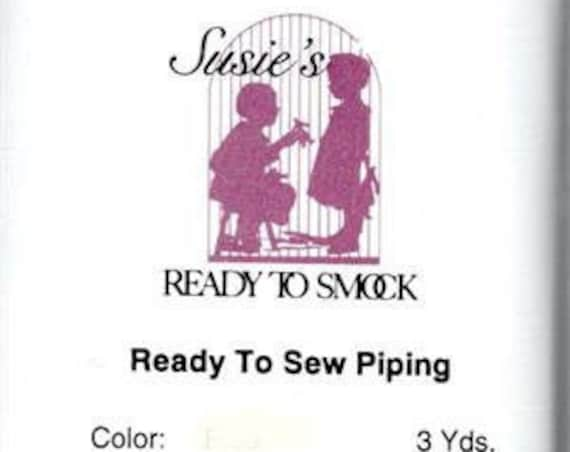 """White Mini Piping / Doll Clothes / Heirloom Sewing / Piping for Childrens Clothes / Mini-Piping / Cording 1/8"""" / Overall width .5"""""""