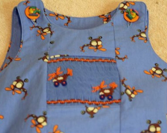 Helicopter Print / Boy's / Shorts / Overalls / Bubbles / Smocking / Twill / 100% Cotton / Blue Print / - by Fabric Finders 60""