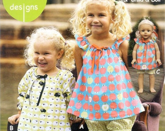 Girls Nightgown Pattern / Easy / Winter Version / Shortie Summer Version / Matching Doll Dress/ Olive Ann/ OAD76