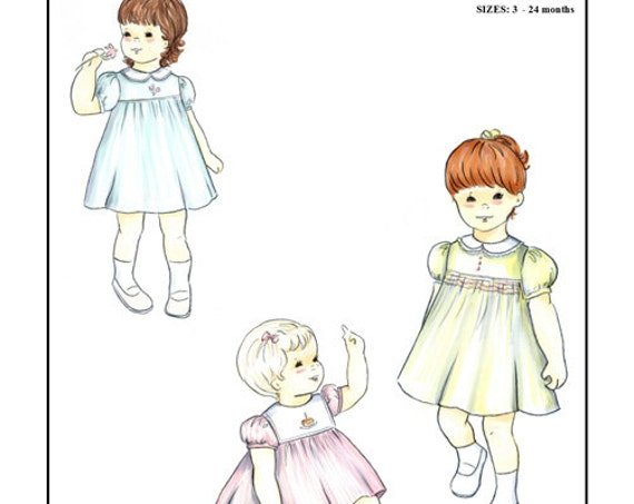 Classic Dress / Square Yoke Dress / Smocked Pattern / Embroidery Designs / Baby or Toddler / Collar Variations / by Creations by Michie #131