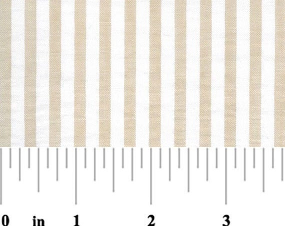 "Seersucker Fabric Khaki & White Stripe  by Fabric Finders 57"" wide"