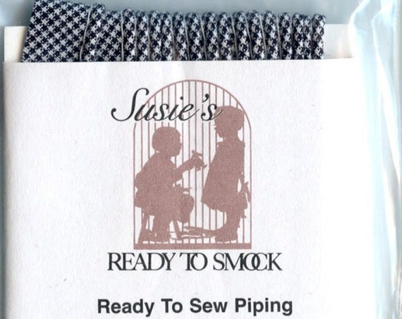"""Navy Gingham Mini Piping / 3 Yard Package / Piping for Childrens Clothes / Doll Clothes / Cording 1/8"""" / Overall width .5"""""""