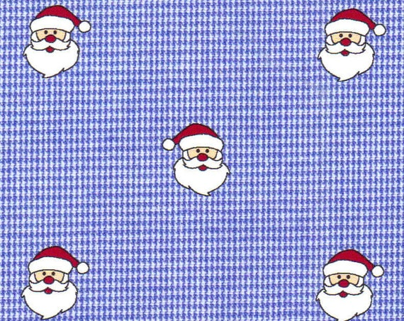 "Christmas Fabric / Santa Fabric /  Royal Blue Gingham with Santa / Small Gingham / 1/16"" Gingham / 100% Cotton / 60"" wide / Fabric Finders /"