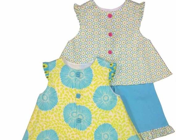 Childrens Corner Pattern / Charlotte /  A-line Jumper / Top / Capri Pant / Ruffle-sleeved / Lined / Revised / 242