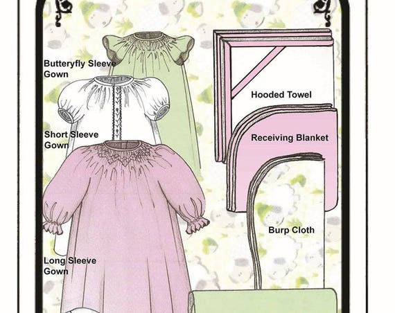 Baby Layette/ Preemies / Smocked / Nightgown / Blanket/ Hooded Towel / Burp Cloth / Bunny Wash Cloth / Changing Pad / Smocking Pattern