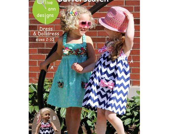 Girls Dress Pattern / Pull On Dress / Empire Waist Dress / Matching Doll Dress /  by Olive Ann Designs / Butterscotch