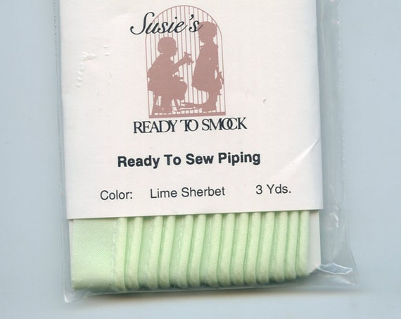 "Lime Sherbet Mini Piping / 3 Yard Package / Piping for Childrens Clothes / Mini-Piping /  Doll Clothes / Cording 1/8"" / Overall width .5"""