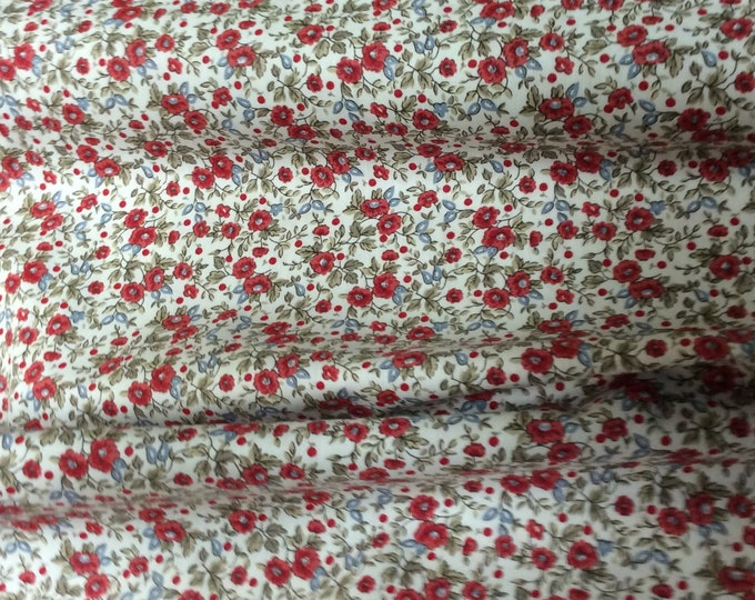 Featured listing image: Fabric / Small Print / Red Floral Print / Smocking Fabric / Dress Fabric / Quilt Fabric / Doll Clothes / 100% Cotton / Fabric Finders / 1251