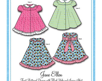Twirly Dress Pattern / Girls / Swing Skirt / Button Front / Sleeveless / Cap Sleeve / Puff Sleeve / Peter Pan Collar / Bonnie Blue / 154
