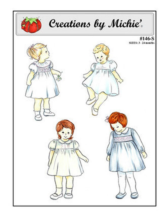Girls High Yoke Dress Pattern / Smocked Dress Pattern/ Square Yoke Pattern / Creations by Michie #146