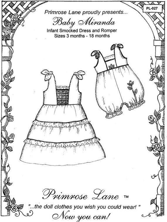 Dress & Romper Pattern /  Smocked  /Romper/ Sundress / Girls  / Smocked or Embroidered Inset / Baby Miranda  by Primrose Lane