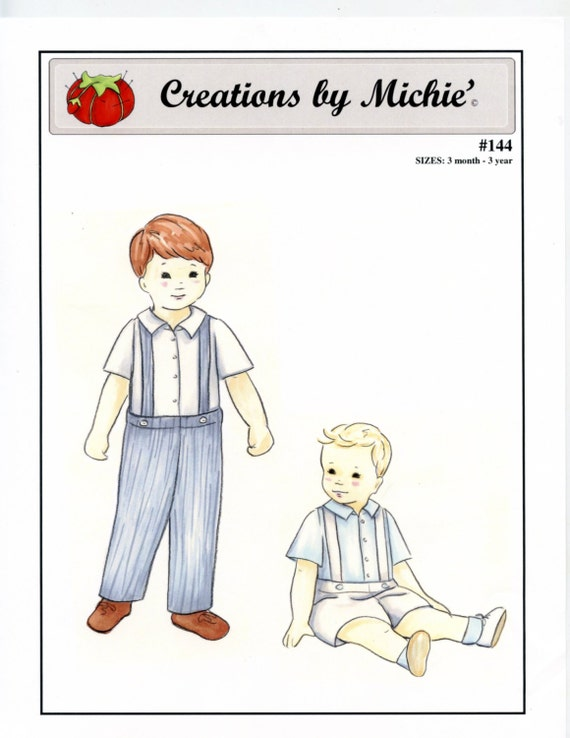 Boy's Suspender Pants Pattern / Toddler Pants / Long Pants / Short Pants / Shirt Pattern / by Creations by Michie #144