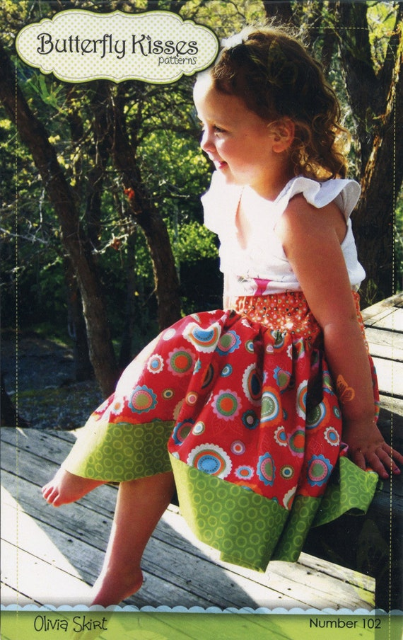 Skirt Pattern / Girls Skirt Pattern / Twirly Skirt / Butterfly Kisses / Olivia Skirt / Elastic Waistband / Ruffle Hem / Dropped Waist