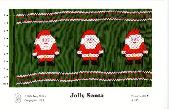 Christmas Smocking Plates /Smocking / Smocked Dress / Vintage Smocking Design / Christmas Dress / Smocked Romper / Jolly Santa