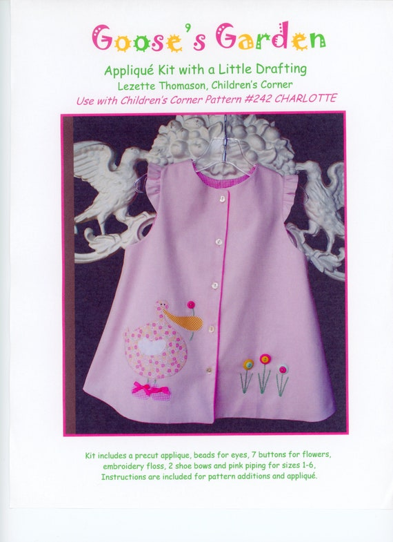 Appliqué  Kit / Lezette Thomason Appliqué / Charlotte Pattern / Goose's Garden / Embroidery machine not required / Childrens Corner