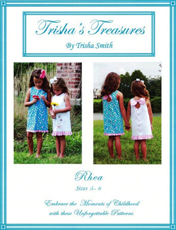 Rhea Pattern / Sundress pattern / Peek-A-Boo-Blooms / A-line dress / Key hole back/ Trisha's Treasures.