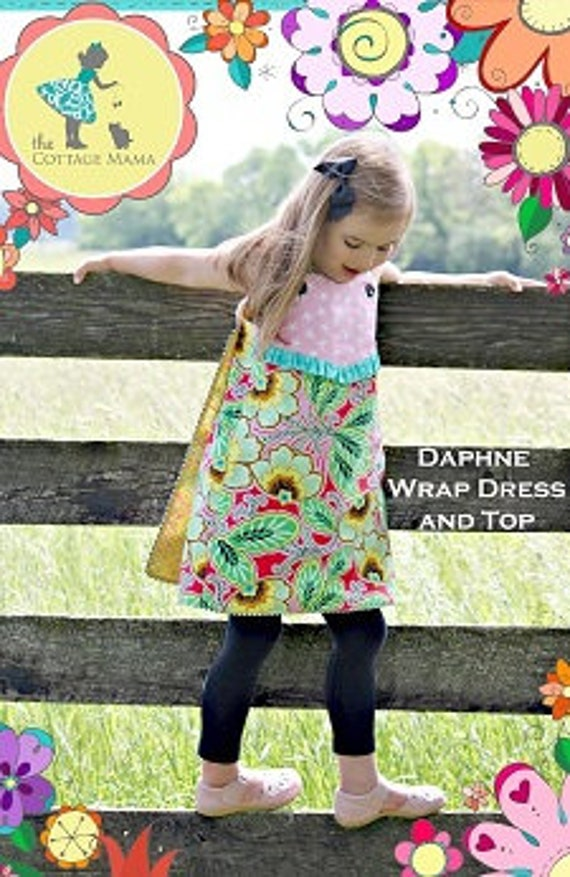 Girls Dress / Wrap Dress or Top / Pattern / Contrasting Fabric / Pieced front with a curved yoke / Straight Front / Cottage Mama / Daphne