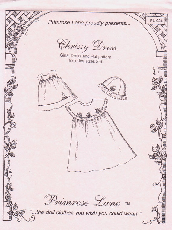 Chrissy Dress Pattern / Sleeveless / Square Yoke / Optional Round Collar / Matching Hat / Embroidery Pattern Included /  Primrose Lane / 918