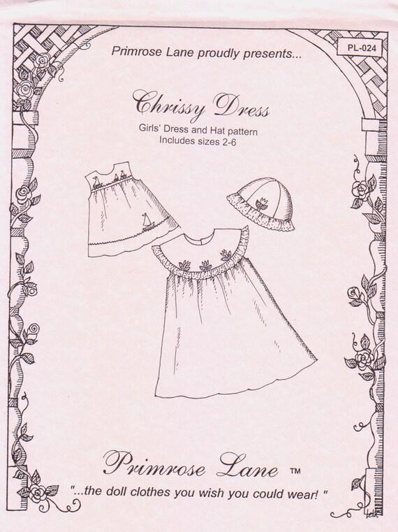 Chrissy Dress Pattern / Sleeveless / Square Yoke / Optional Round Collar / Matching Hat / Embroidery Pattern Included /  Primrose Lane / 918