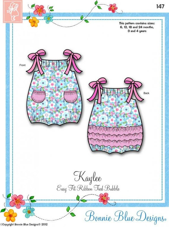 Bubble Pattern / Girls / Pockets / Ribbon Tied Shoulders / Back Ruffles / Easy / Bonnie Blue / 147