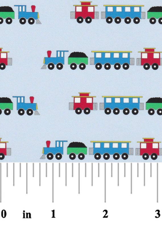 "Fabric / Trains / Cute Trains on a Blue Background / Boys / Quilt fabric / Childrens Rompers / Childrens Clothes /  Fabric Finders 60"" wide"