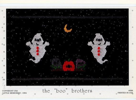 Smocking Plates / Boo Brothers / Smocking /  Smocking Design / Smocked Dress  / Vintage Smocking Plate / Smocked Inset / Ghosts / Halloween