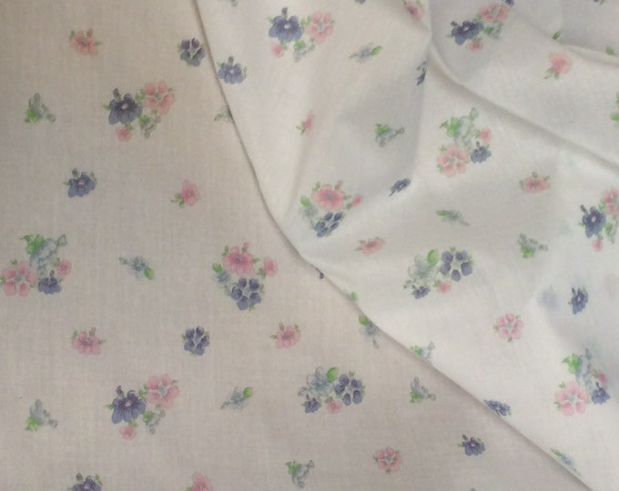 Featured listing image: Fabric /Lawn Fabric / Floral Print / Smocking Fabric / Dress Fabric / Heirloom Fabric / Pink and Blue Flowers on White / Fabric Finders L-12