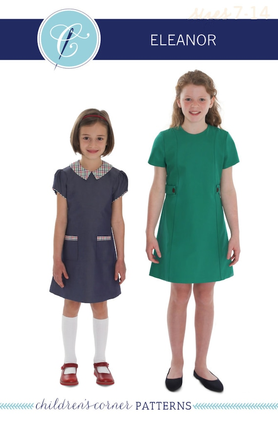 Eleanor Pattern /  Childrens Corner Pattern / Girls Dress Pattern / Peter Pan Collar / A-line dress / Short Sleeves / 2 Sleeve Types / #300