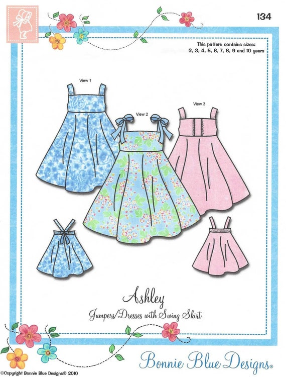 Twirly Dress Pattern / Swing Skirt / Jumper or Sundress / Elastic Back / Easy / No Buttons or Skirt Placket / Ashley / Bonnie Blue / 134