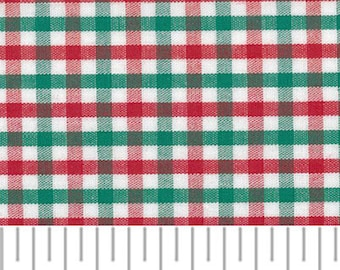 """Red and Green Tattersall Gingham / 100% Cotton / Christmas  / Smocking / 60"""" wide / Fabric Finders /"""