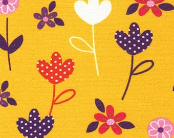 """Print Fabric / Cotton / Floral Fabric / Quilting /  60"""" Wide Fabric / Children's Fabric / Yellow Fabric / Flowers / Fabric Finders 1229"""