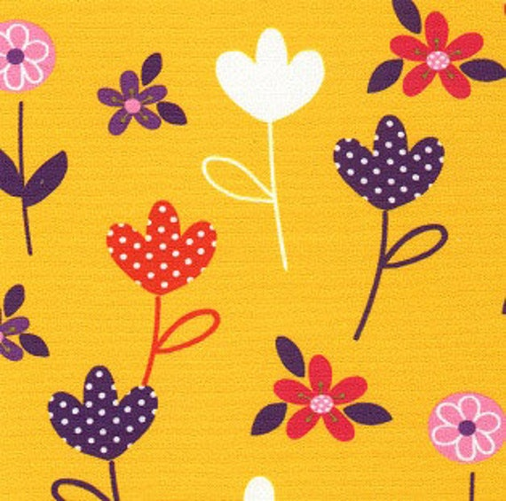 "Print Fabric / Cotton / Floral Fabric / Quilting /  60"" Wide Fabric / Children's Fabric / Yellow Fabric / Flowers / Fabric Finders 1229"