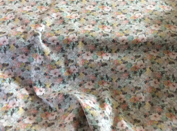 "Floral Print Fabric / Grey and Coral Floral Print / 100% Cotton / 60"" Wide / Fabric Finders 2210"