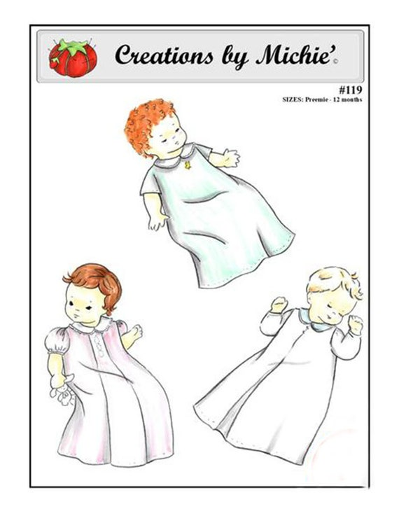 Daygown pattern / Preemie / Newborn / Back Buttons / Embroidery Designs / Box Pleat / Inverted Pleat / by Creations by Michie #119