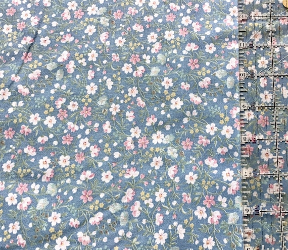 Mask Fabric / 100% Cotton / Vintage / Pink and White Flowers on Blue Background / Floral / Quilt Fabric / Doll Clothes