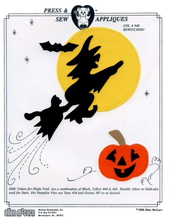 Iron on Appliqué / Press & Sew Appliqué / Witch On Broom Appliqué  / Halloween / Easy Fall Outfit /  Pumpkin / Bewitched by Ellen McCarn