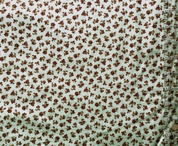 Mask Fabric / 100% Cotton / Vintage / Brown Flowers on Green Background / Floral / Quilt Fabric / Doll Clothes