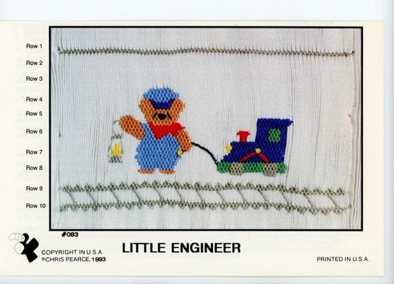 Smocking Plates / Little Engineer / Smocking /  Smocking Design / Boys Smocking  / Smocked Romper /  Vintage Smocking Plate /