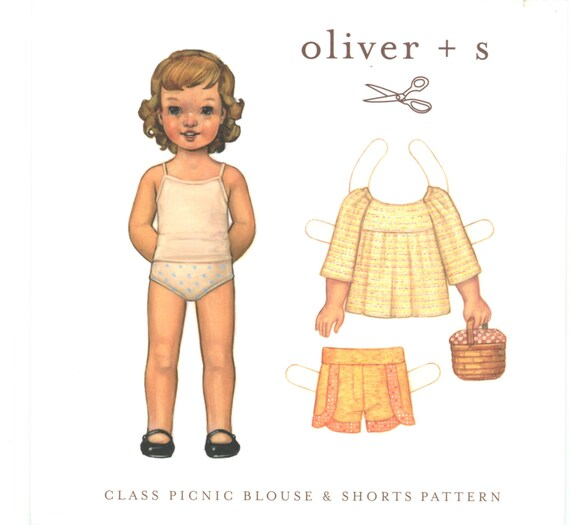 Blouse and Shorts Pattern / Oliver +s Pattern / Pull On Blouse With Raglan Sleeves / Elastic Waist Shorts / Cute Details