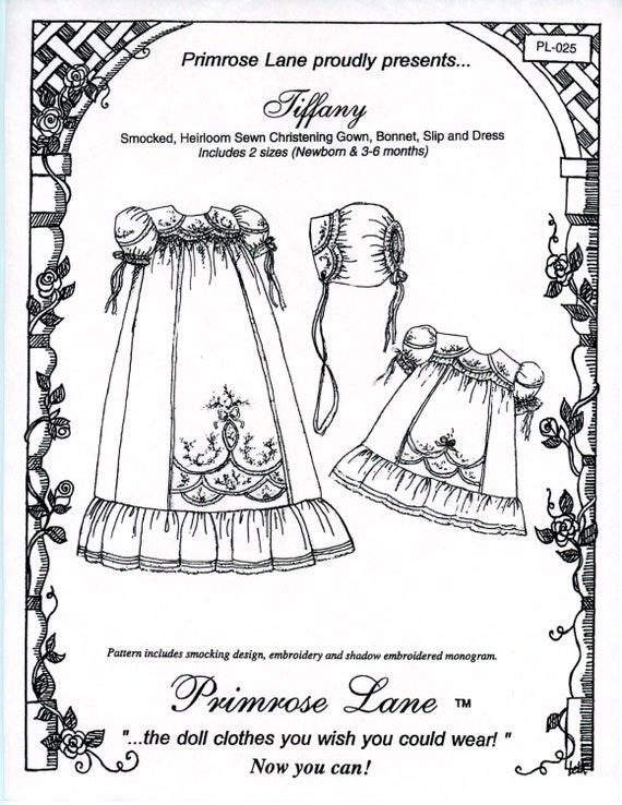 Christening Gown Pattern / Heirloom / Smocked or Gathered. / Slip / Puffed Sleeves / Matching Bonnet / Embroidered Front Panel / Tiffany