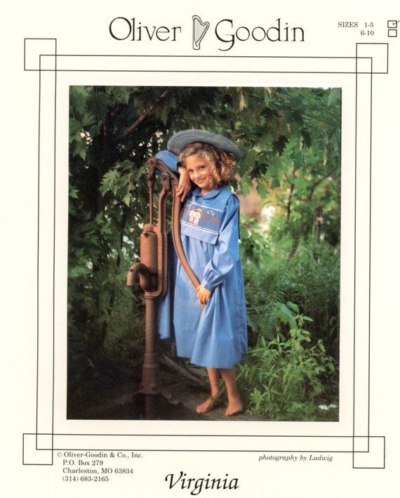 Girl's Dress / Vintage  Pattern / Short Yoke Dress / Detachable Smocked Collar / Peter Pan Collar / 3 Sleeve Styles / Oliver Goodwin