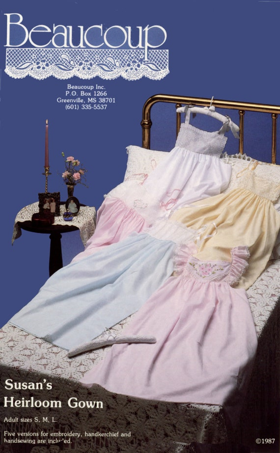 Vintage Nightgown Pattern / Women's Nightgown / Heirloom Nightgown Pattern / 5 Yoke Styles / Handkerchief Yokes / Plain Yokes / Easy