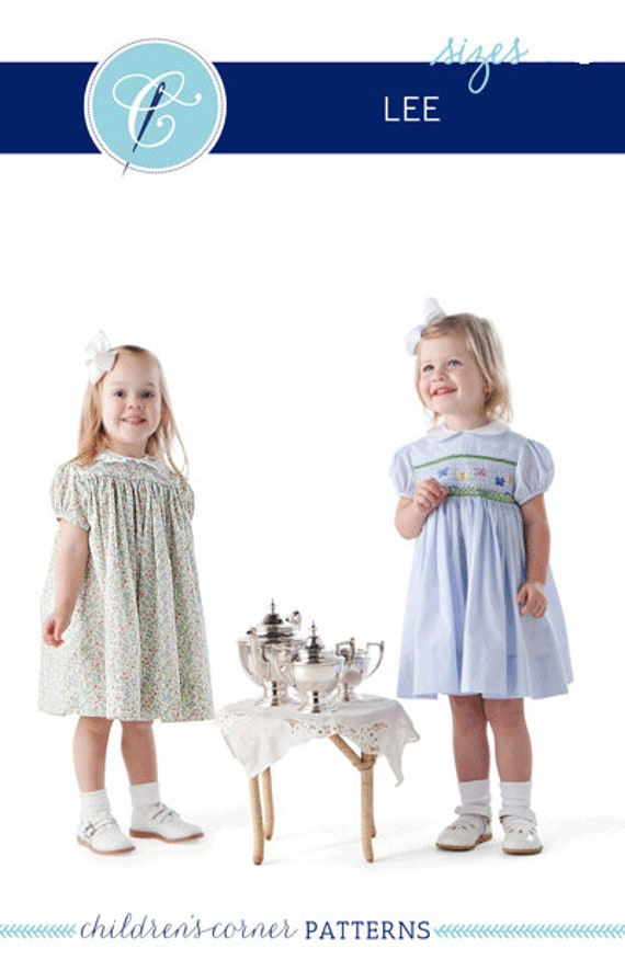 Childrens Corner Pattern / Lee Pattern / Smocked Dress Pattern / Square Yoke Dress Pattern /   Children's Corner #10 / New Version