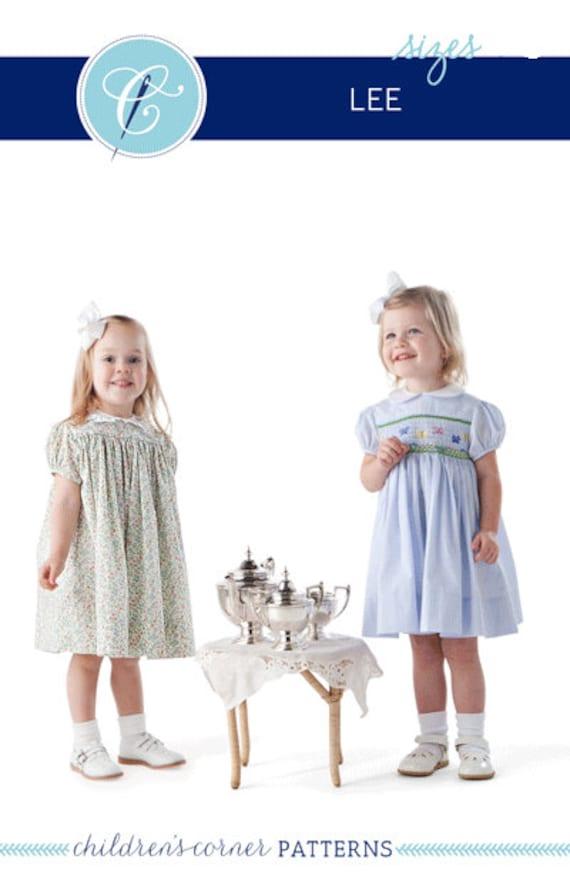 Childrens Corner Pattern / Lee Pattern / Smocked Dress Pattern / Square Yoke Dress Pattern /   Children's Corner #10 / New Version